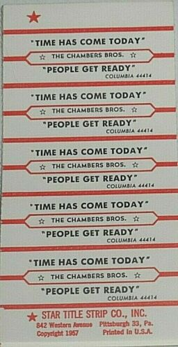 "JUKEBOX TITLE STRIP SHEET - THE CHAMBERS BROS. ""Time Has Come.."" Columbia 44414"