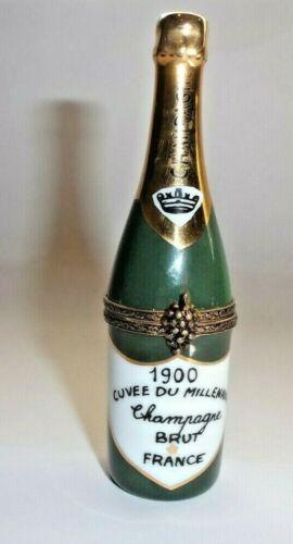 Peint Main Limoges Trinket-Champagne Bottle Vintage 1900