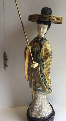"Vintage Chinese Cloisonné Celluloid Woman Fisherman 15"" Statue Figurine"