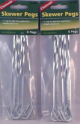 "12 PK SKEWER TENT PEGS/STAKES 7"" MANY APPLICATIONS12 PEGS ONLY 7 OZ.USE FOR COOK"