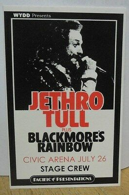 "JETHRO TULL / BLACKMORE'S RAINBOW LAMINATED BACKSTAGE PASS ""CIVIC ARENA"""