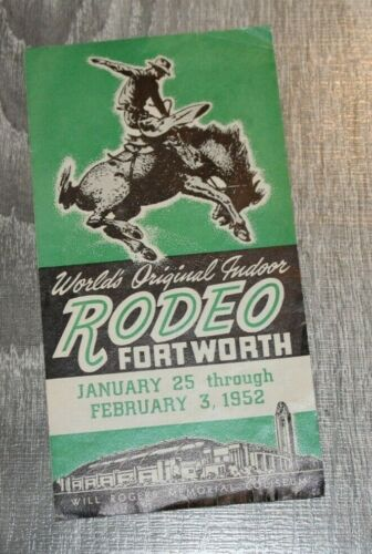 1952 Worlds ORIGINAL Rodeo Vintage Brochure, Fortworth, WILL ROGERS COLISEUM
