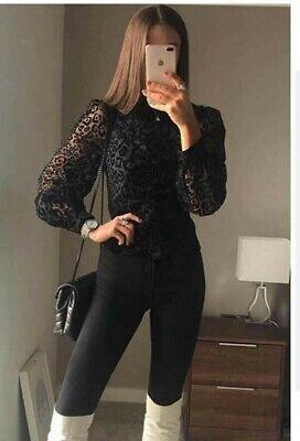 NWT Zara Black Animal Print Ruched Organza & Vel Long Sleeve Shirt Blouse M 1420