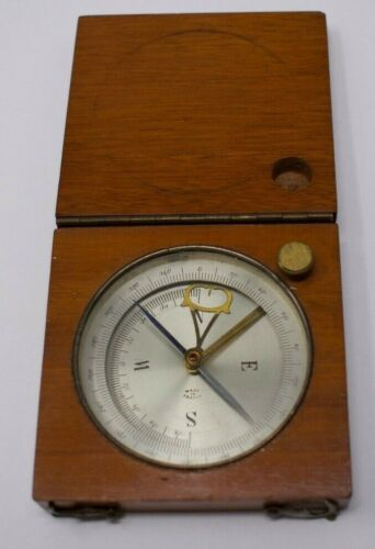 Antique French Mahogany Wood Cased Pocket Compass w/ Inclinometer