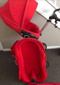 Stokke xplory v3 in red with car seat