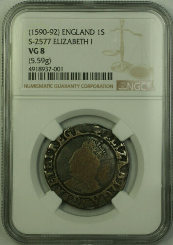 (1590-92) England One Shilling 1S Elizabeth I Silver Coin S-2577 NGC VG-8