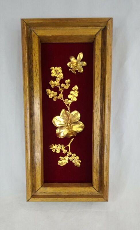 Flora Hawaii 24K Gold Encased Tropical Flowers Orchid Maui Framed Vintage