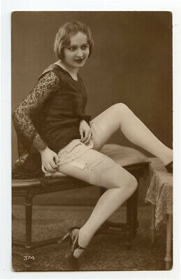 1920s Risque n/ Nude French Deco RPPC Real Photo Postcard LEGGY FLAPPER