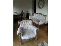 STILL AVAILABLE: Unique refurbished sofa and chair Roccoco