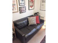 Habitat Chester brown leather sofa