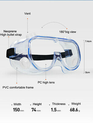 Safety Goggles Over Glasses Lab Work Eye Protective Eyewear Clear Lens 1pcs