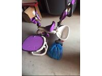 Smart trike purple with accessories.