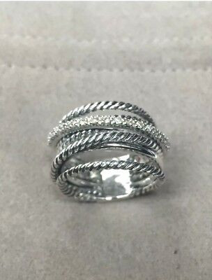 - David Yurman 925 Sterling Silver Crossover Wide Cable Pave Diamond Ring Size 7