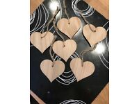 Blank wooden hearts with twine - 100