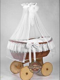 Wicker Crib Moses Basket with Bedding & Drape MJmark