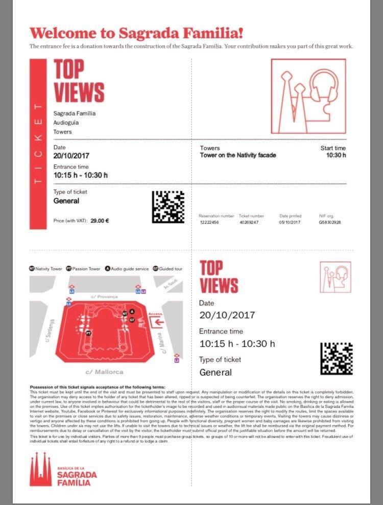 4 tickets to la sagrada familia (gaudi's cathedral) Barcelona.