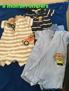 6 and 9 month boys rompers