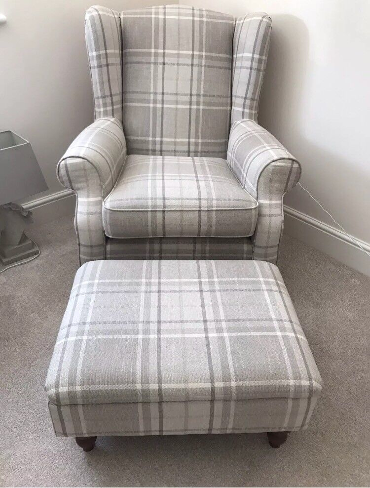 Next Wingback Armchair Footstool Natural Beige Check In