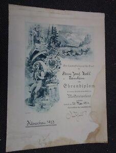 alte Urkunde Ehrendiplom Molkerei Innsbruck 1924