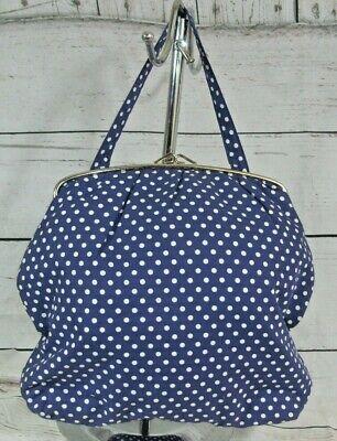 St Michael M&S Vintage Polka Dot Blue Cosmetic Vanity Tote Bag