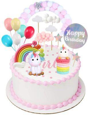 Einhorn Cake Torten Topper Kuchenstecker 9 Set. Geburtstag Girlande Deko 27 St.