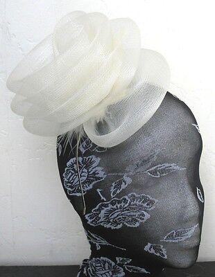 ivory feather fascinator millinery burlesque headband wedding hat hair piece