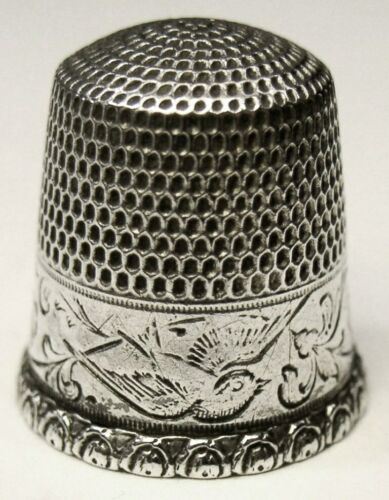 "Antique Goldsmith Stern & Co. Sterling Silver Thimble  ""Flying Bird""  C1910s"