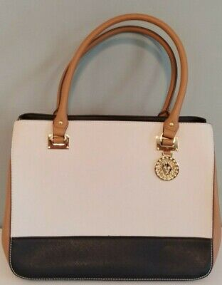 Anne Klein Handbag. White with Black and Tan. Nice Size. Rarely Used.