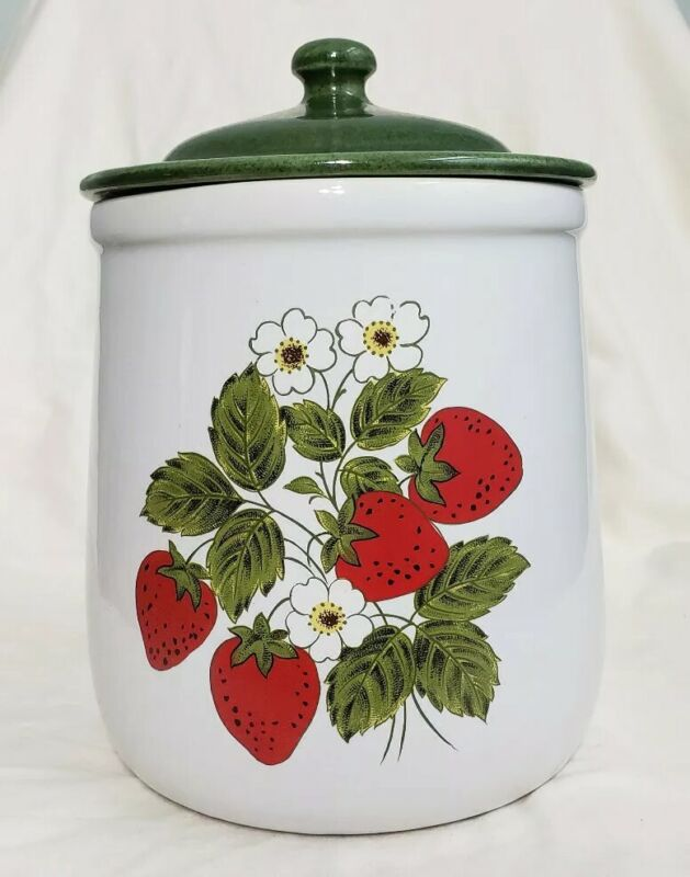 Vintage Strawberry Canister Set of 4 With Gasket Lid