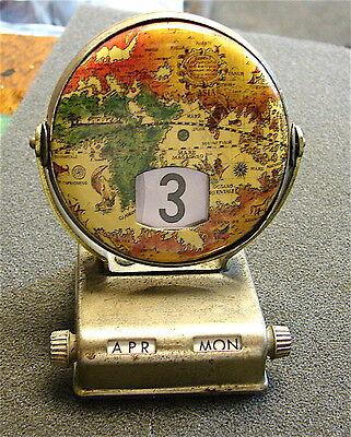Vintage 1960s Perpetual Flip Desk Calendar Tin Litho Globe Map----free ship