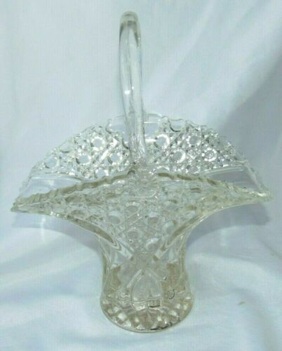 """LE SMITH ? Vintage Clear 13"""" Tall GLASS Handled BASKET Button Pattern Meas 8x10"""
