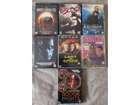 VARIOUS DVD x7 war of worlds, 300, i robot, terminator 3, lost in space, peter kay live, boogie nite
