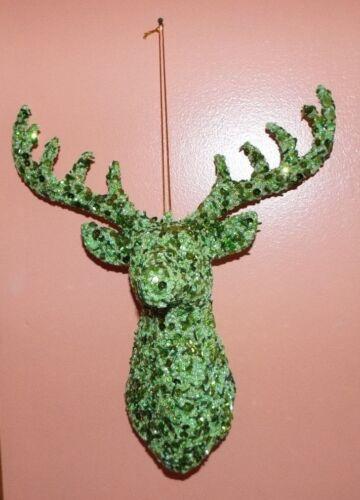 LARGE GREEN SEQUIN & BEADS REINDEER DEER BUCK ORNAMENT, WALL HANGING. NEW