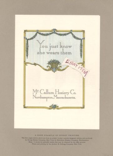 1914 McCALLUM HOSIERY CO Northhampton Massachusetts OFFSET PRINTING SPECIMEN