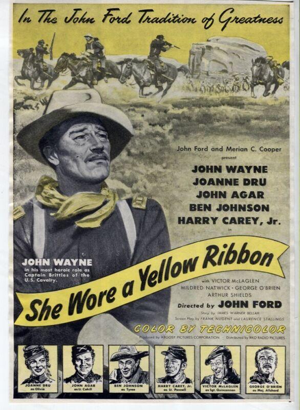 She Wore a Yellow Ribbon 1949 John Wayne Western Movie Ad Magazine Vintage