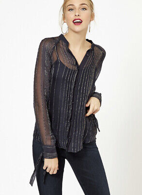 Zadig Voltaire Shirt Small Blue Metallic Gold Blouse Striped Top MISSING BUTTON