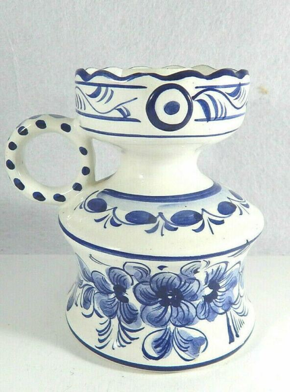 """Delft Portugal Blue and White Candle Holder 5"""" Tall"""