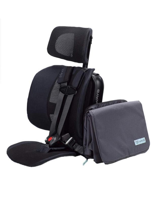 WAYB Pico Travel Car Seat and Travel Bag Bundle, Black. NEW