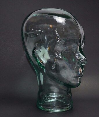 Glass Mannequin Head Face Display, Clear - Life Size Hand Made Spain