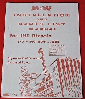 Mw T-7 Turbo Charger More Powr Parts Installation Manual Ih Farmall 806 856