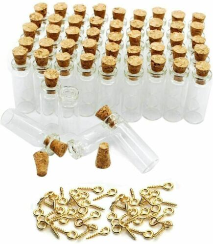 50 Pcs Small Mini Tall Clear Glass Bottles Jars with Corks Stoppers DIY Arts NEW