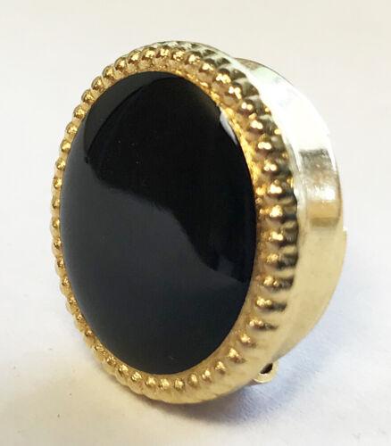 Black & Gold Button Cover for Banded Collar Dress Shirt Nehru Mandarin Tuxedo