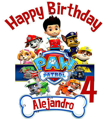 NEW PERSONALIZED CUSTOM PAW PATROL BIRTHDAY SHIRT ADD NAME & AGE GIFT FAVORS