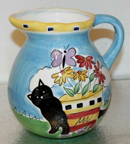 """Hausen Ware 8"""" Water Pitcher Flower Pot Butterfly & Cat Design"""