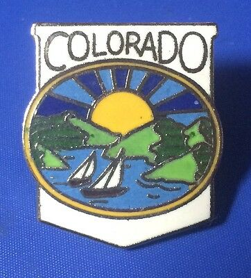COLORADO State Souvenir Lapel Hat Pin ~ Sunset Sailboats