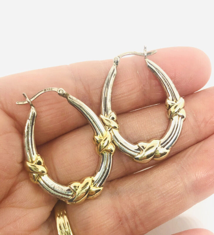"""Large Sterling Silver Hoop Earrings Gold Accents 3.6gms 1 3/8"""" Vintage Jewelry"""
