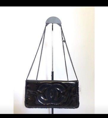 New Chanel VIP Clutch Cross body Black Bag with CC Logo and CC charm