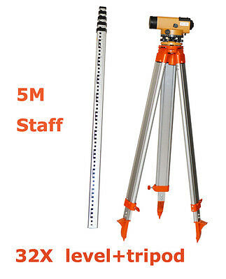 Surveying Equipment32x Automatic Level Tripod 5m Staff Surveying Tools Hot
