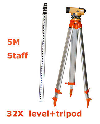 New 32x Automatic Optical Level Detector Level Surveying Equipment 5m Towers