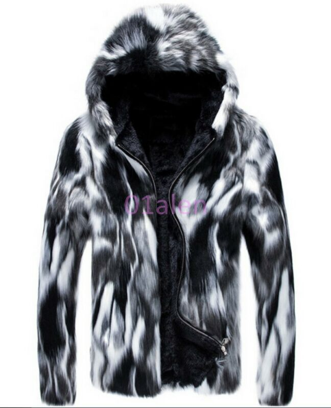 Z 2015 Mens Casual Jacket Faux Fur Hooded Warm Winter Coats Outdoor Outerwears